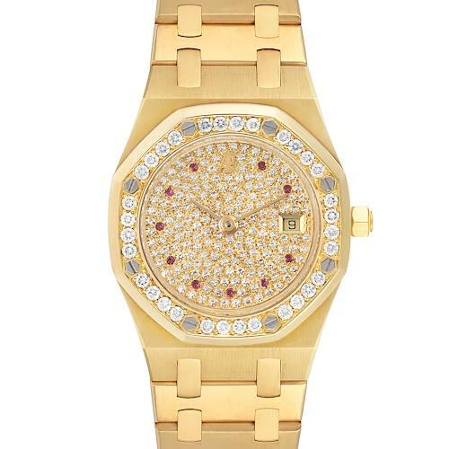 Photo of Audemars Piguet Royal Oak Yellow Gold Diamond Rubies Watch 14587 Unworn