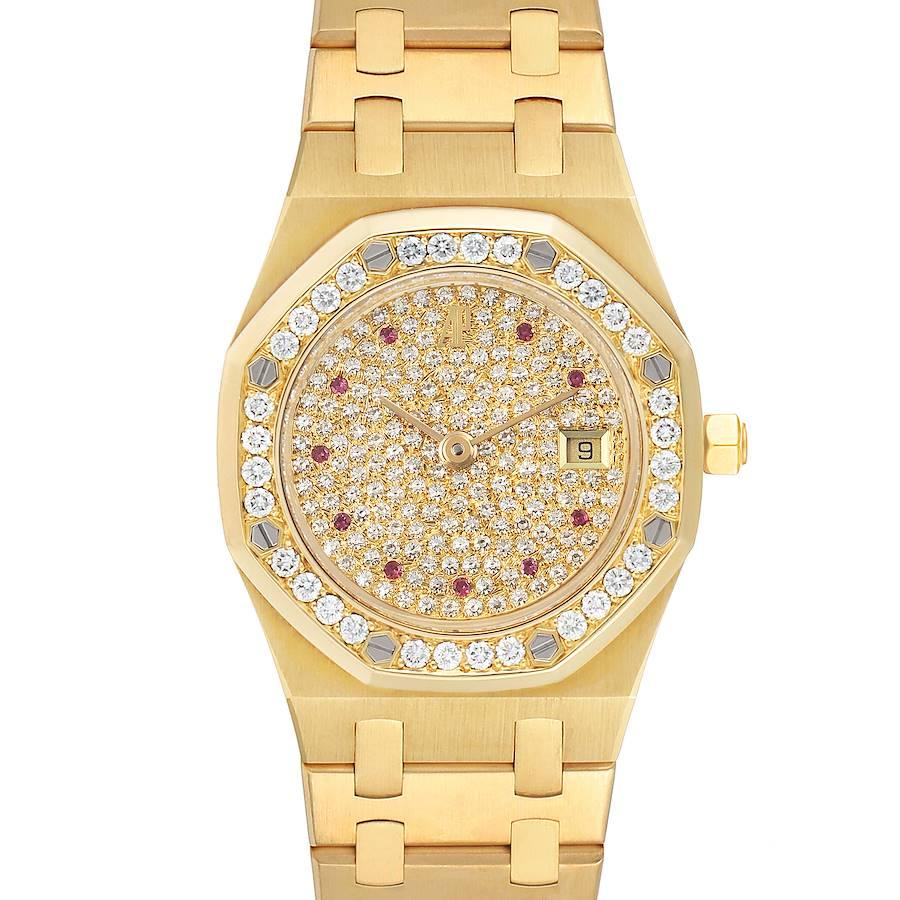 Audemars Piguet Royal Oak Yellow Gold Diamond Rubies Watch 14587 Unworn SwissWatchExpo