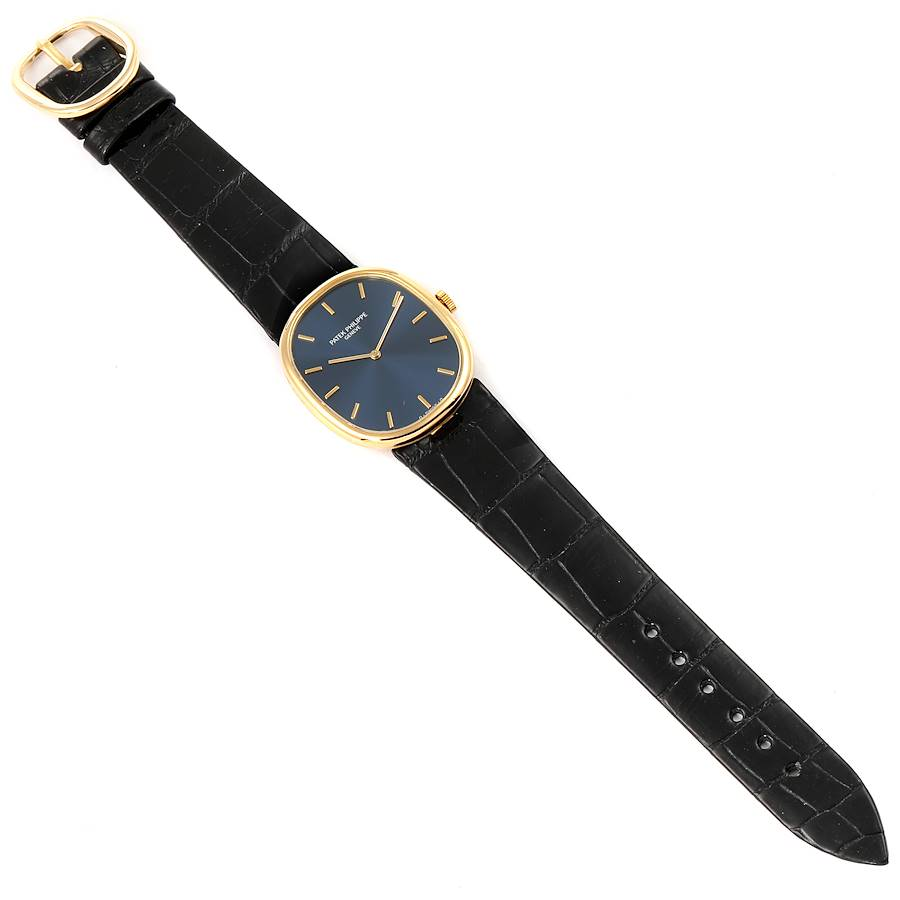 Patek Philippe Golden Ellipse 18k Yellow Gold Blue Dial Mens Watch 7579 SwissWatchExpo