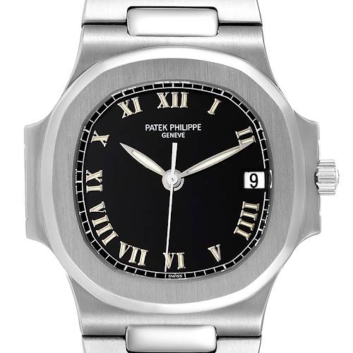 Photo of Patek Philippe Nautilus Black Dial Automatic Steel Mens Watch 3800 Papers