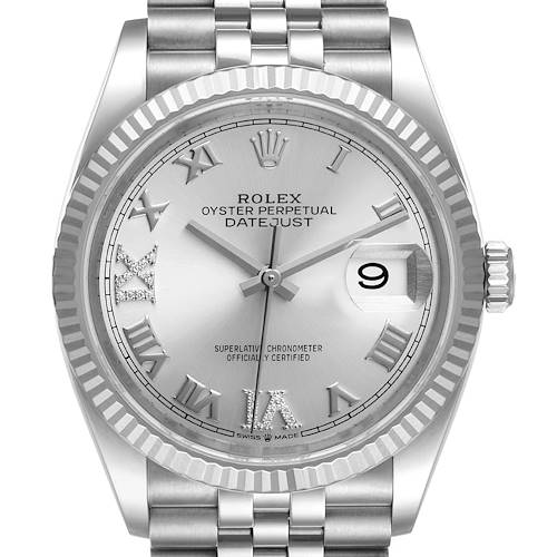 Photo of Rolex Datejust Steel White Gold Silver Dial Diamond Watch 126234 Box Card