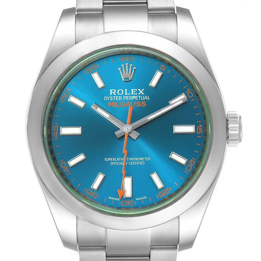 Rolex Milgauss Blue Dial Green Crystal Mens Watch 116400GV Box Card SwissWatchExpo