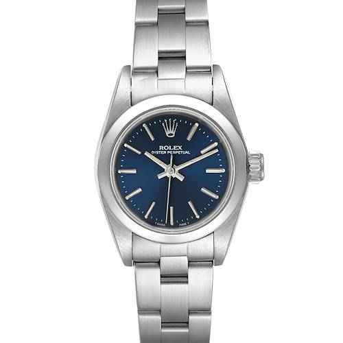 Photo of Rolex Oyster Perpetual Nondate Ladies Steel Blue Dial Watch 67180
