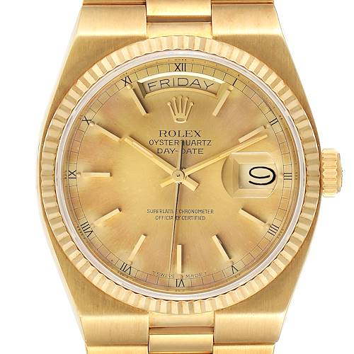 Photo of Rolex Oysterquartz President Day-Date Yellow Gold Mens Watch 19018 Unpolished