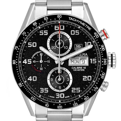Photo of Tag Heuer Carrera Black Dial Chronograph Steel Mens Watch CV2A1R