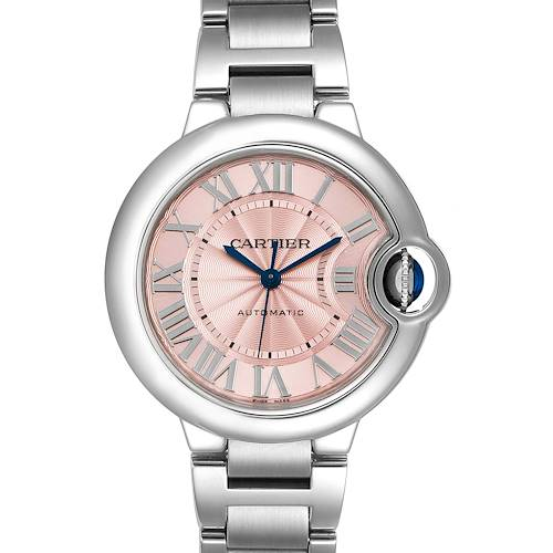 Photo of Cartier Ballon Bleu 33 Midsize Steel Pink Dial Ladies Watch W6920100