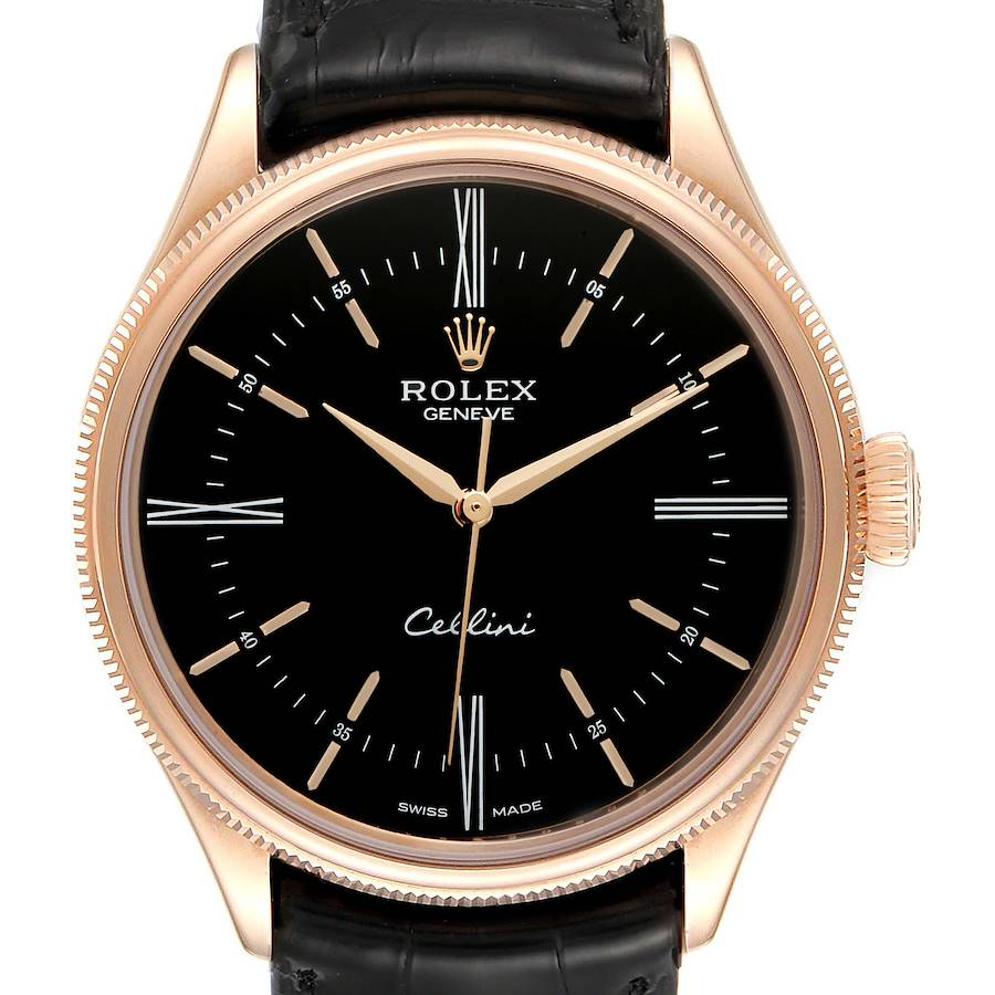 Rolex Cellini Time 18K EveRose Gold Black Dial Mens Watch 50505 SwissWatchExpo