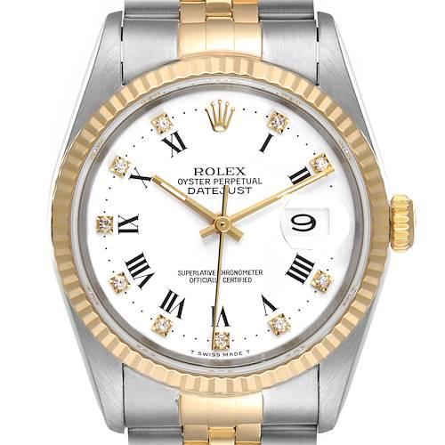 Photo of Rolex Datejust Steel Yellow Gold White Roman Diamond Dial Mens Watch 16233