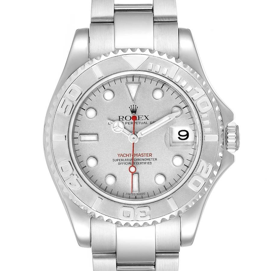 Rolex Yachtmaster 35mm Midsize Steel Platinum Mens Watch 168622 Box Papers SwissWatchExpo