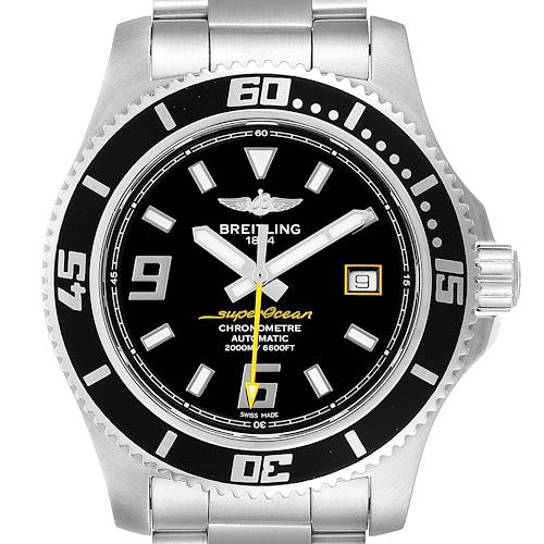 Photo of Breitling Superocean 44 Yellow Hand Steel Mens Watch A17391 Box Papers