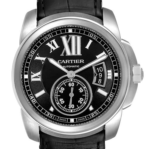 Cartier Calibre Black Dial Steel Mens Watch W7100041 Box Papers