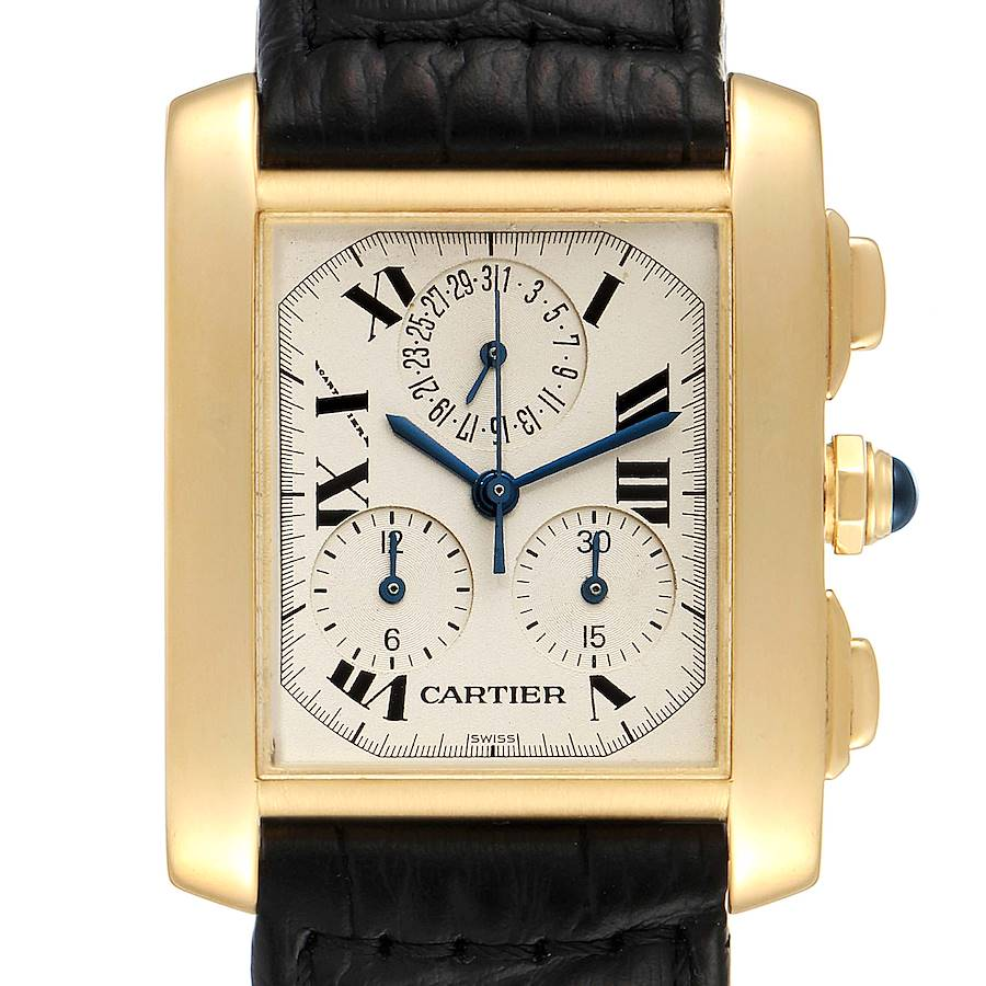 Cartier Tank Francaise Chronoflex 18K Yellow Gold Mens Watch W5000556 SwissWatchExpo