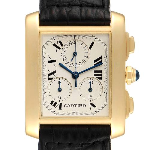 Cartier Tank Francaise Chronoflex 18K Yellow Gold Mens Watch W5000556