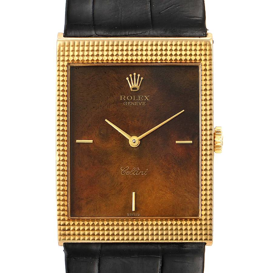 Rolex Cellini 18k Yellow Gold Wooden Dial Vintage Mens Watch 4127 SwissWatchExpo