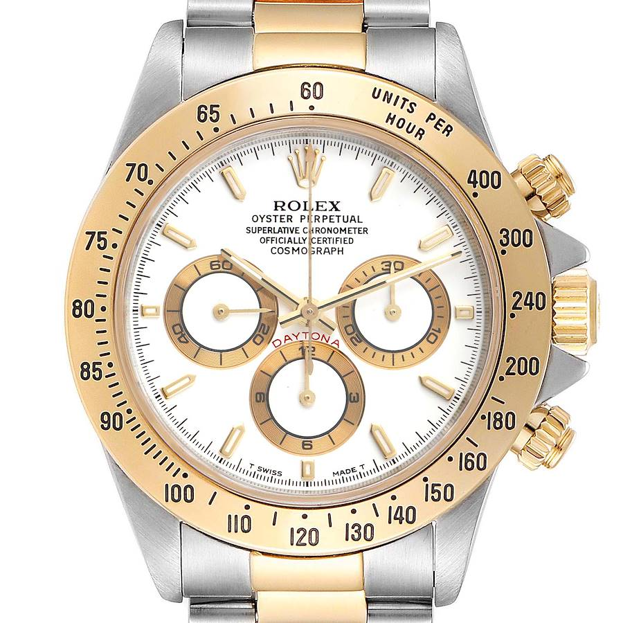 Rolex Daytona Steel Yellow Gold White Dial Mens Watch 16523 Box Papers SwissWatchExpo