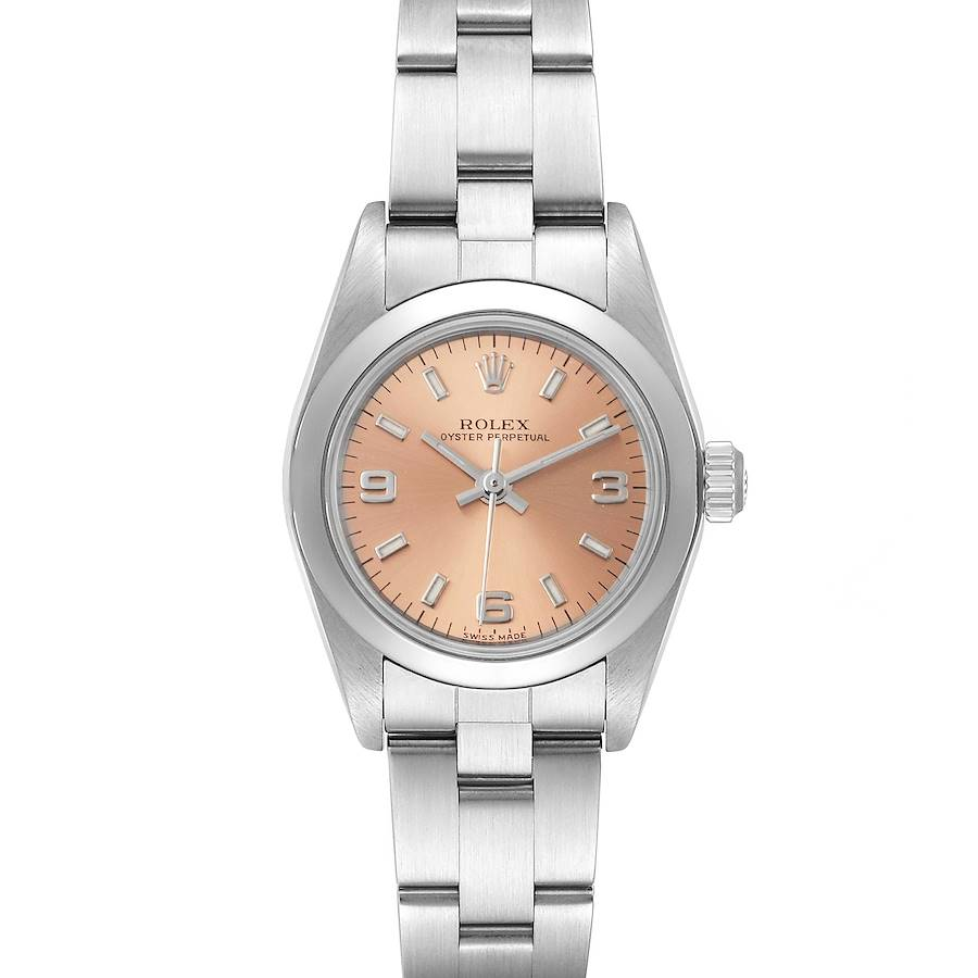 Rolex Oyster Perpetual Salmon Dial Steel Ladies Watch 76080 SwissWatchExpo