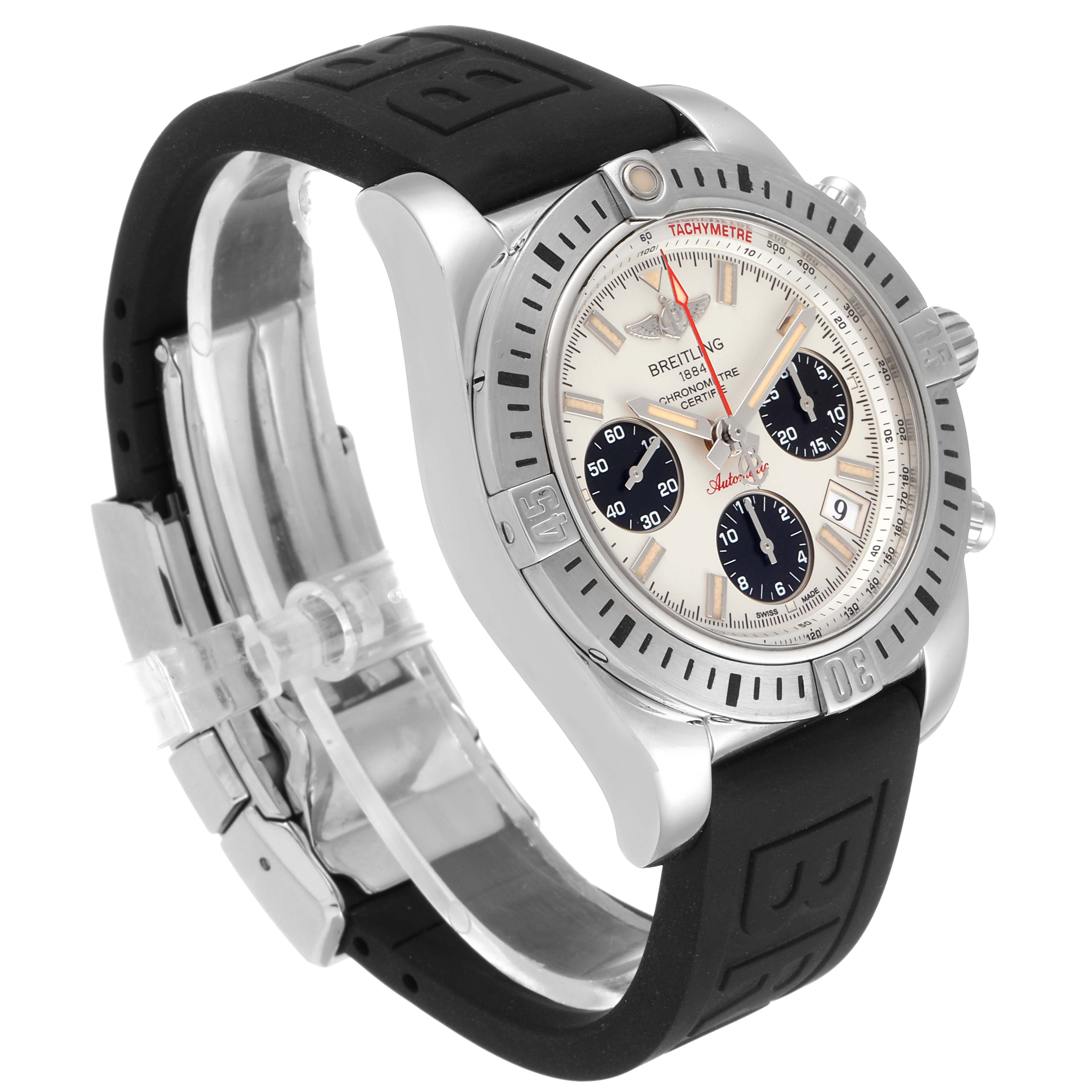Breitling Chronomat 41 Airborne Silver Dial Steel Mens Watch AB0144 Box Papers SwissWatchExpo