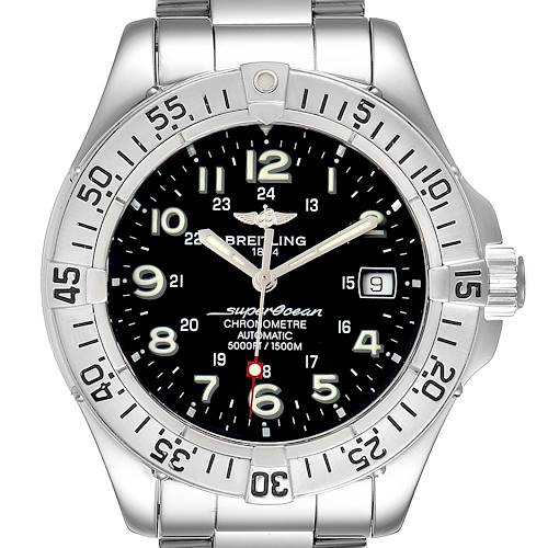 Breitling Superocean Steelfish Black Dial Mens Watch A17360 Box Papers