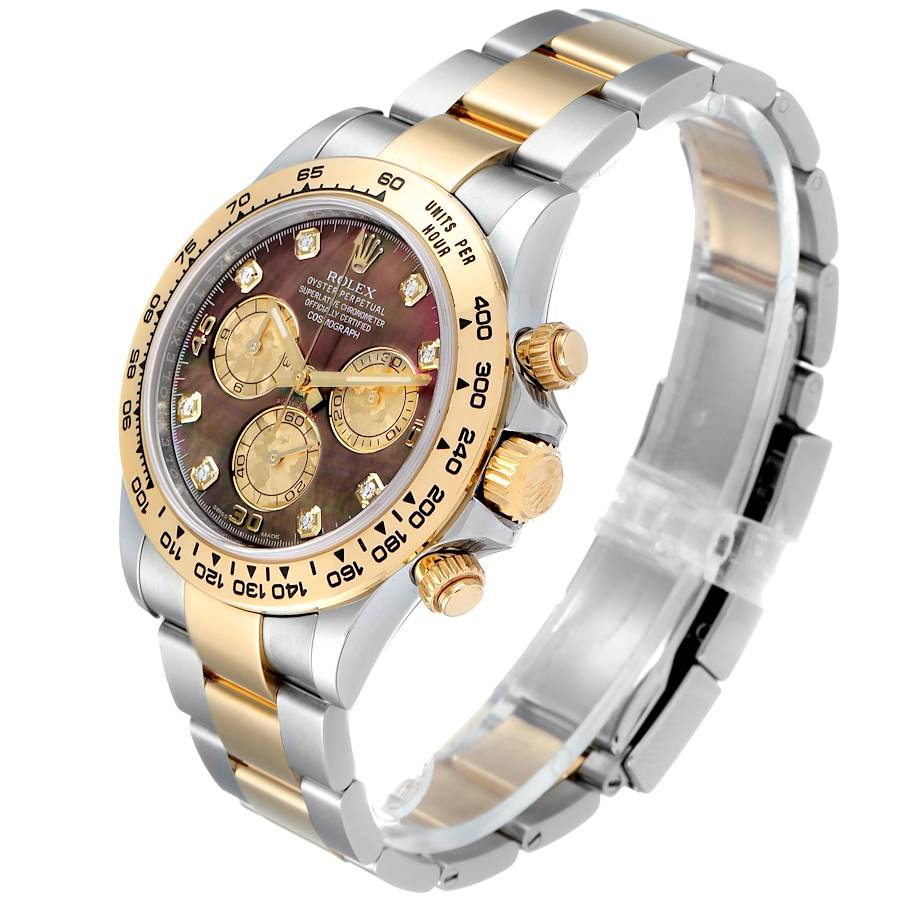 Rolex Daytona Steel Yellow Gold MOP Gold Crystals Diamond Watch 116503 Box Card SwissWatchExpo