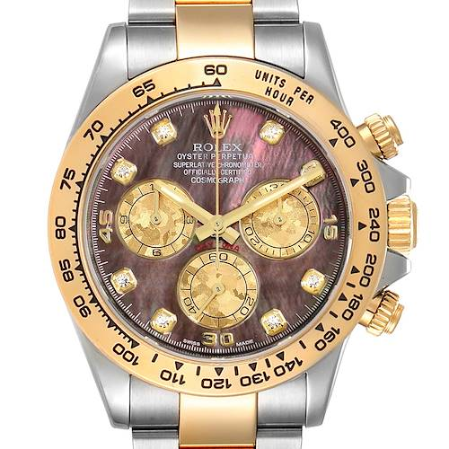 Photo of Rolex Daytona Steel Yellow Gold MOP Gold Crystals Diamond Watch 116503 Box Card