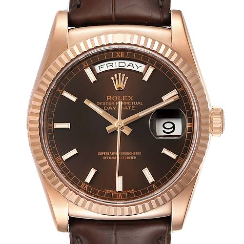 Photo of Rolex President Day-Date 18k Everose Gold Chocolate Mens Watch 118135