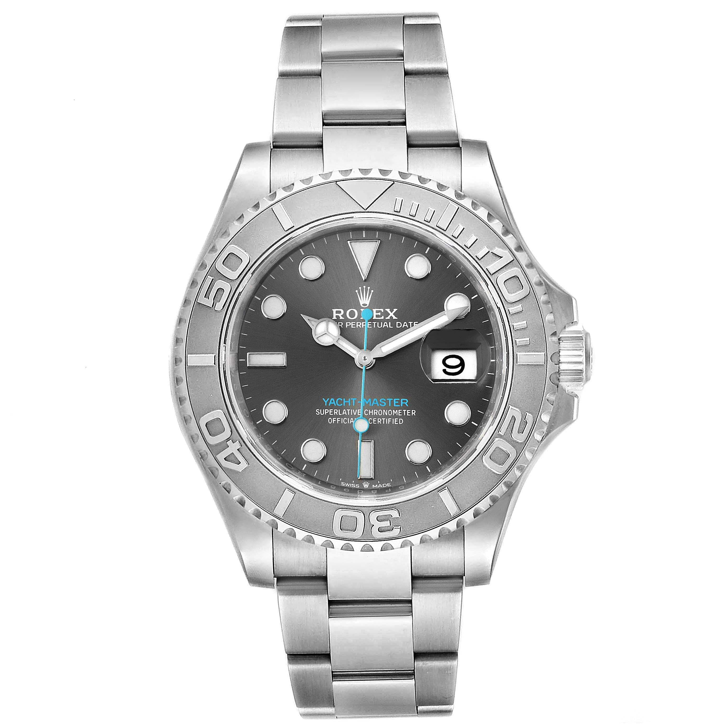 Rolex Yachtmaster Rhodium Dial Steel Platinum Mens Watch 116622 Box Card SwissWatchExpo