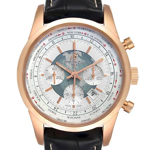 Photo of Breitling Transocean Chronograph Unitime Rose Gold Watch RB0510 Unworn