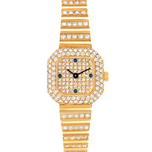 Patek Philippe 18K Yellow Gold Diamond Sapphire Cocktail Ladies Watch 4628