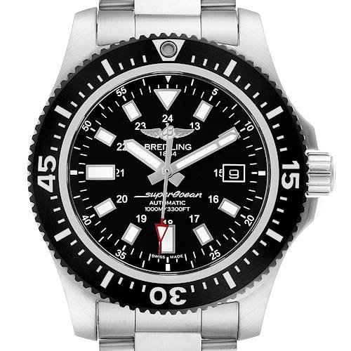 Breitling Aeromarine Superocean 44 Black Dial Watch Y17393 Box Papers