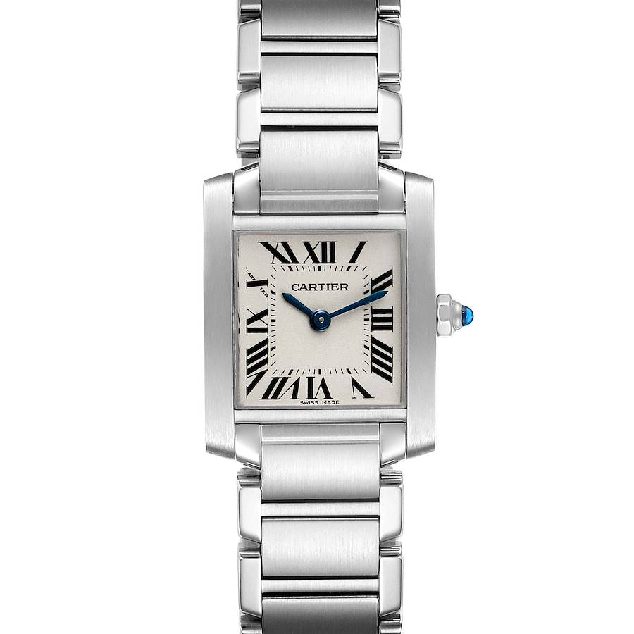 Cartier Tank Francaise Silver Dial Blue Hands Ladies Watch W51008Q3 SwissWatchExpo