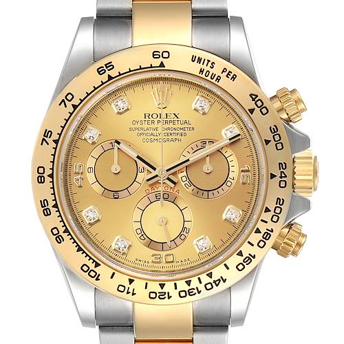 Rolex Cosmograph Daytona Steel Yellow Gold Diamond Watch 116503 Box Card