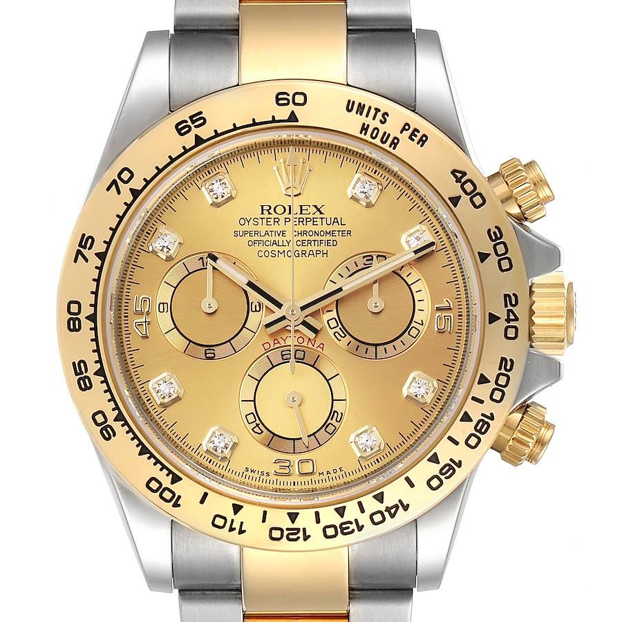 Rolex Cosmograph Daytona Steel Yellow Gold Diamond Watch 116503 Box Card SwissWatchExpo
