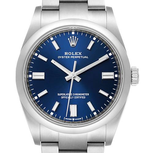Rolex Oyster Perpetual Blue Dial Steel Mens Watch 126000 Unworn
