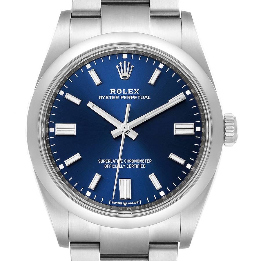 Rolex Oyster Perpetual Blue Dial Steel Mens Watch 126000 Unworn SwissWatchExpo