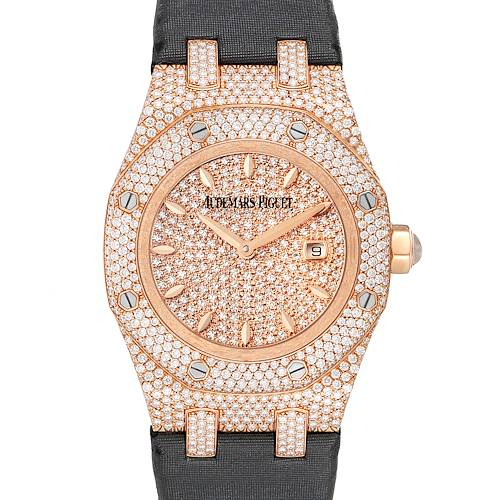Photo of Audemars Piguet Royal Oak Rose Gold Diamond Ladies Watch 67625OR Box Papers