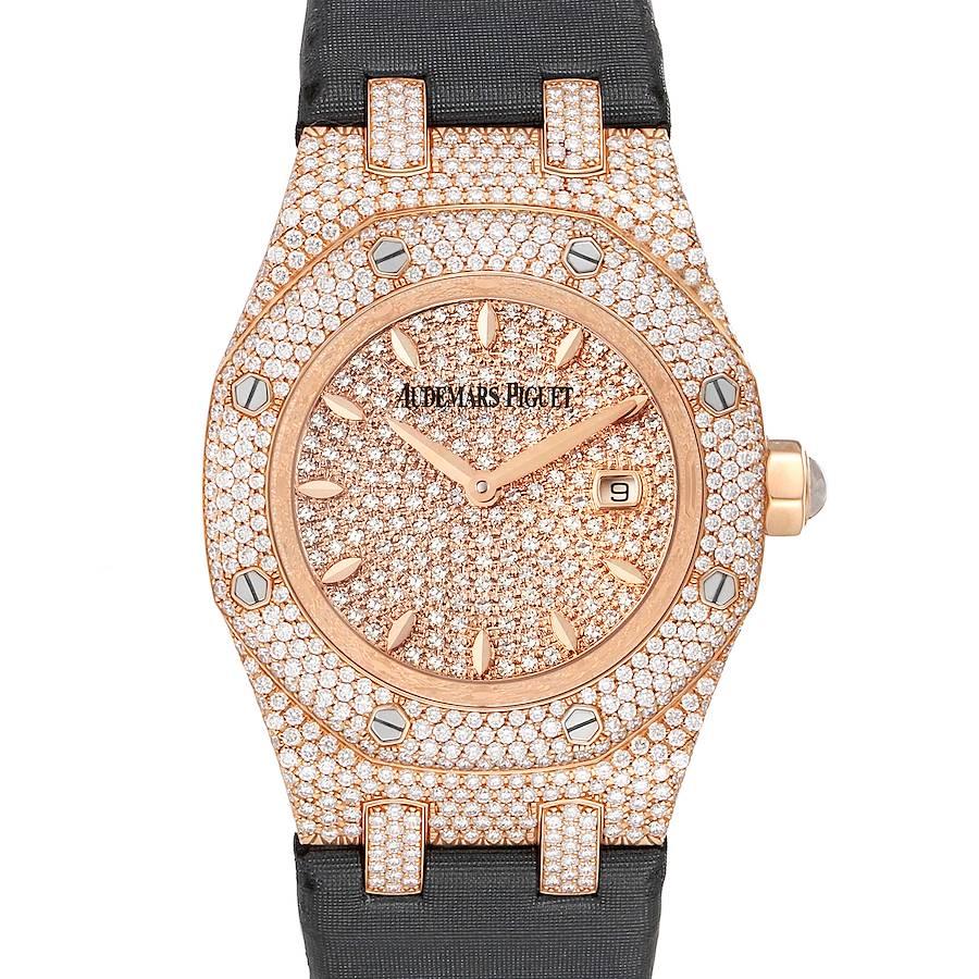 Audemars Piguet Royal Oak Rose Gold Diamond Ladies Watch 67625OR Box Papers SwissWatchExpo