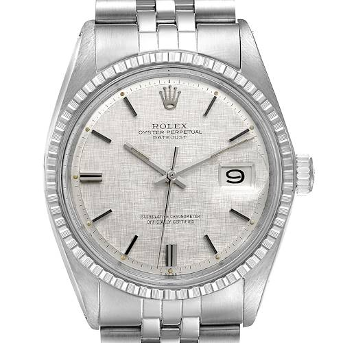 Photo of Rolex Datejust Silver Linen Dial Vintage Steel Mens Watch 1603