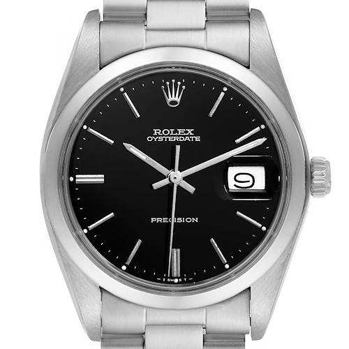 Photo of Rolex OysterDate Precision Black Dial Steel Vintage Mens Watch 6694