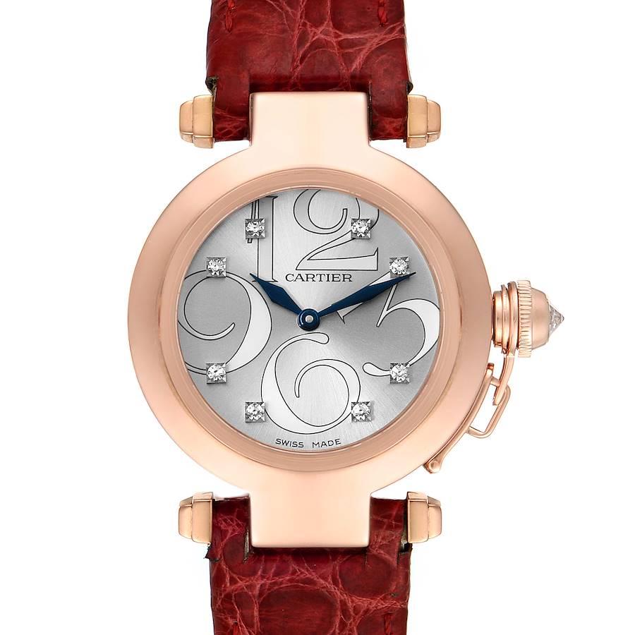 Cartier Pasha 32 Rose Gold Silver Diamond Dial Ladies Watch WJ123021 SwissWatchExpo
