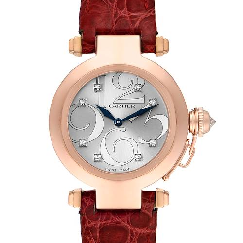 Photo of Cartier Pasha 32 Rose Gold Silver Diamond Dial Ladies Watch WJ123021