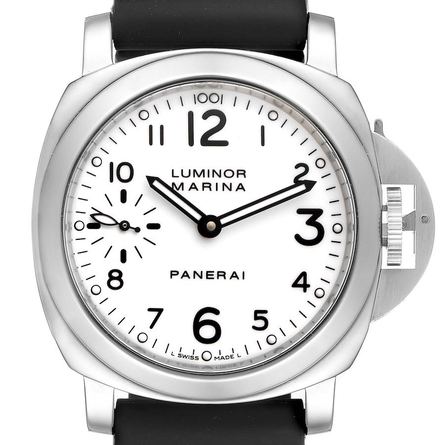 Panerai Luminor Marina 44mm White Dial Watch PAM00113 Box Papers SwissWatchExpo