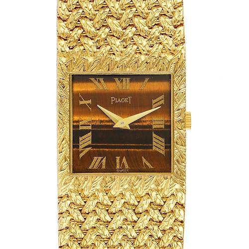 Photo of Piaget 18k Yellow Gold Tiger Eye Stone Dial Vintage Mens Watch 9352