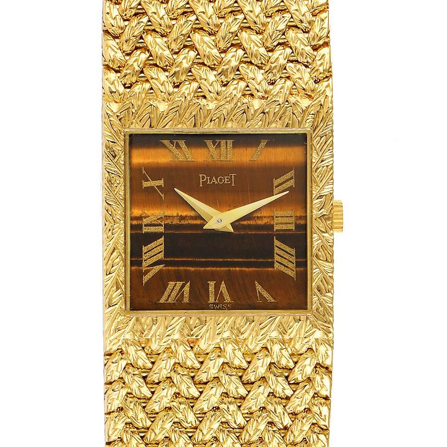 Piaget 18k Yellow Gold Tiger Eye Stone Dial Vintage Mens Watch 9352 SwissWatchExpo