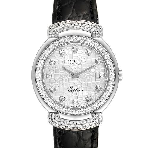 Rolex Cellini Cellissima 33mm White Gold Diamond Ladies Watch 6683