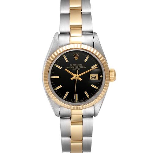 Rolex Date Steel Yellow Gold Black Dial Ladies Watch 6917