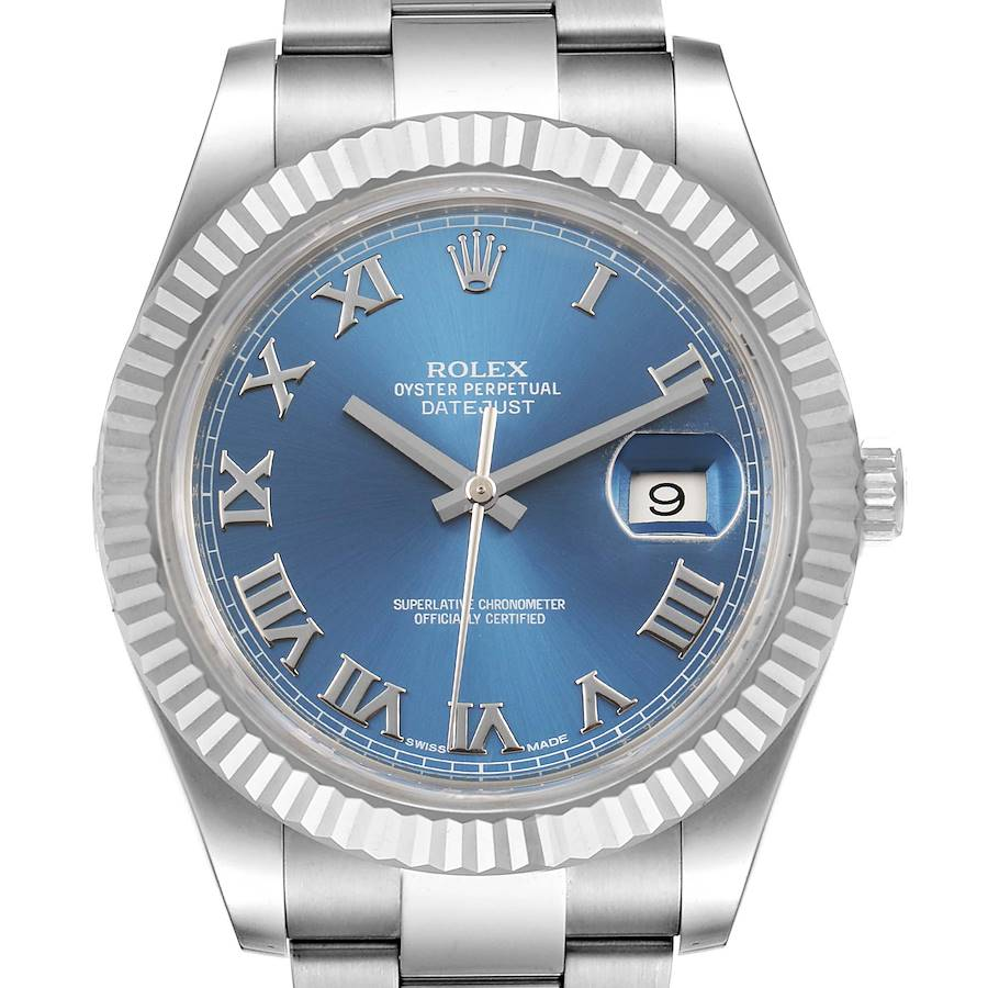 Rolex Datejust 41 Steel White Gold Blue Dial Mens Watch 116334 Box Card SwissWatchExpo