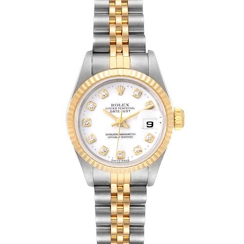 Photo of Rolex Datejust Steel Yellow Gold White Diamond Dial Watch 69173 Papers