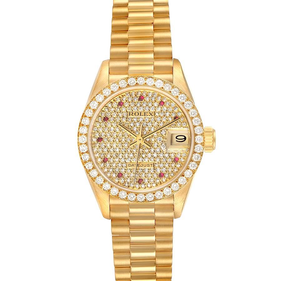 Rolex President Datejust Yellow Gold Diamond Ruby Ladies Watch 69138 SwissWatchExpo