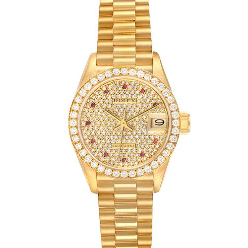 Photo of Rolex President Datejust Yellow Gold Diamond Ruby Ladies Watch 69138