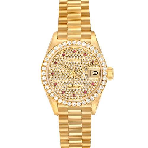 Photo of Rolex President Datejust Yellow Gold Diamond Ruby Ladies Watch 69138